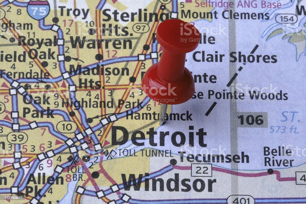 Detroit, Michigan on a map. royalty-free stock photo