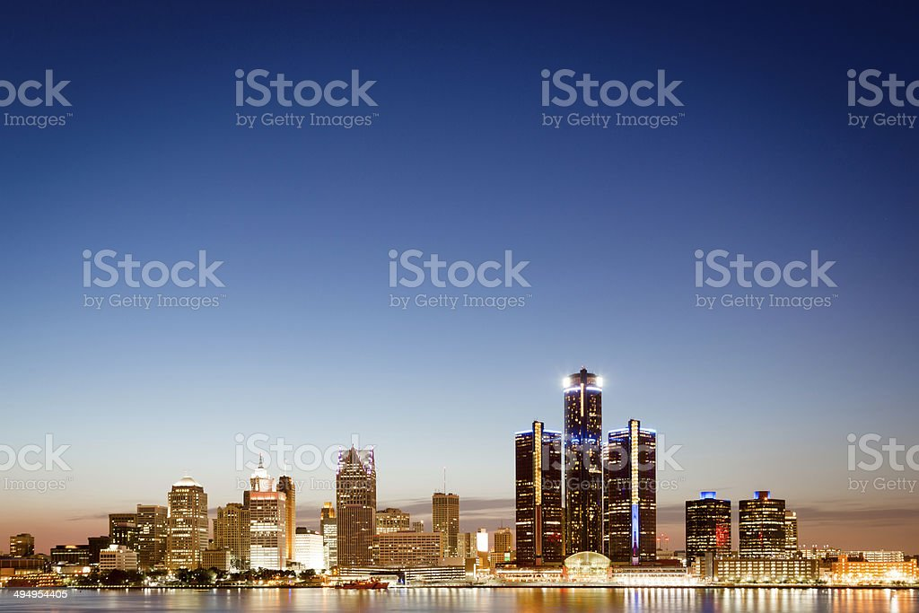 Detroit, Michigan skyline at twilight stock photo