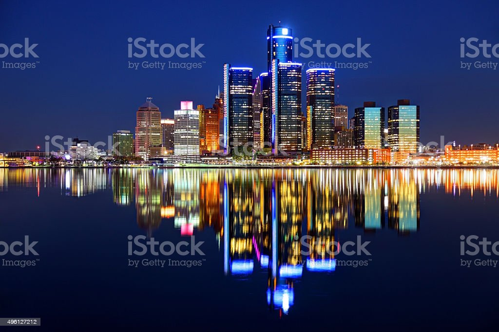 Detroit Michigan skyline reflecting on the Detroit River stock photo