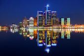 Detroit Michigan skyline reflecting on the Detroit River