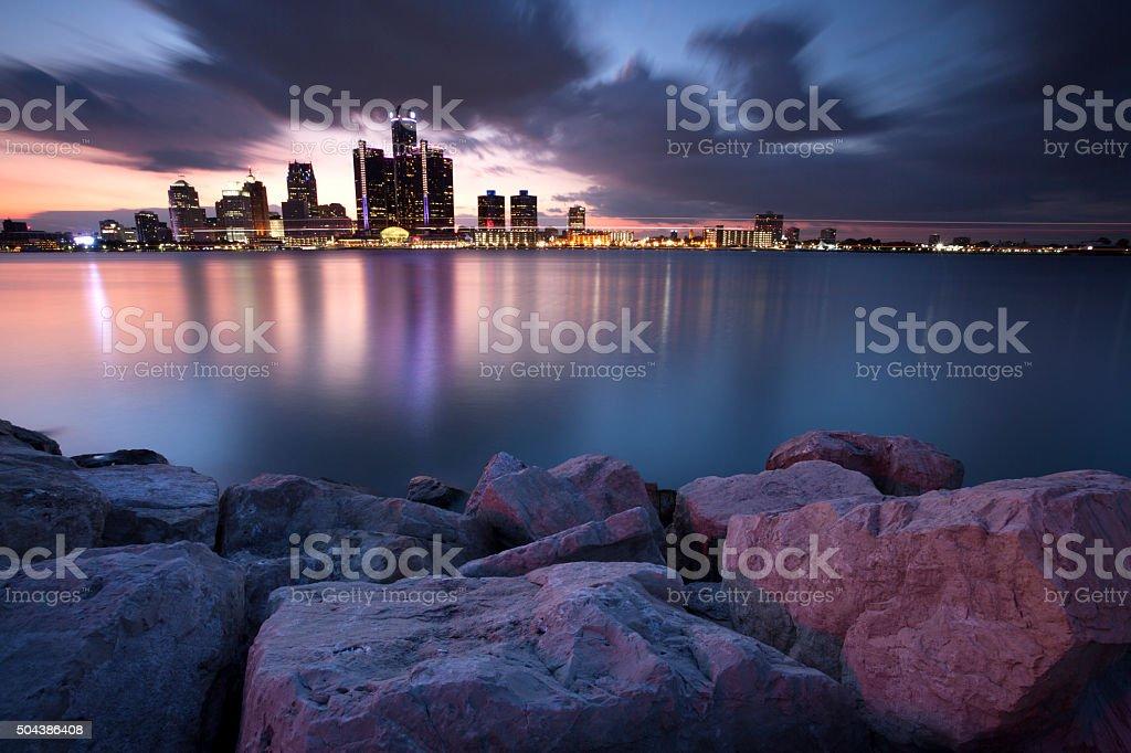 Detroit Michigan USA  Evening light stock photo