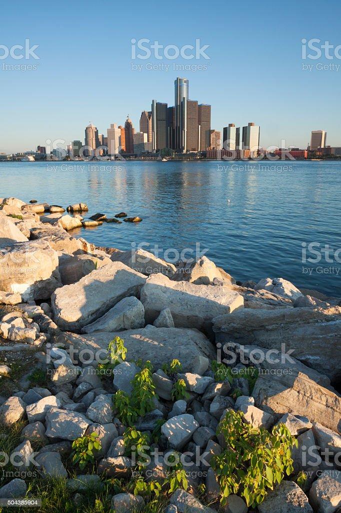 Detroit Michigan USA  Morning light stock photo