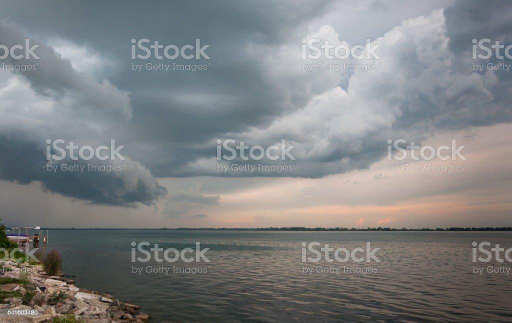Detroit River Storm  Cloud Scape stock photo