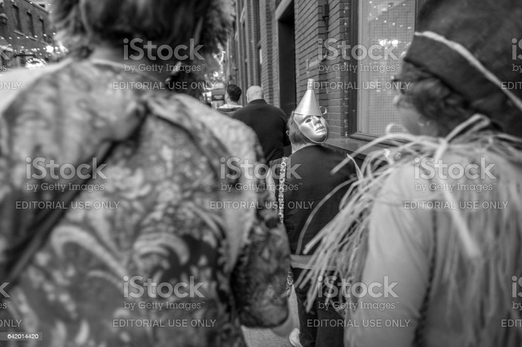 Detroit sidewalk people stock photo