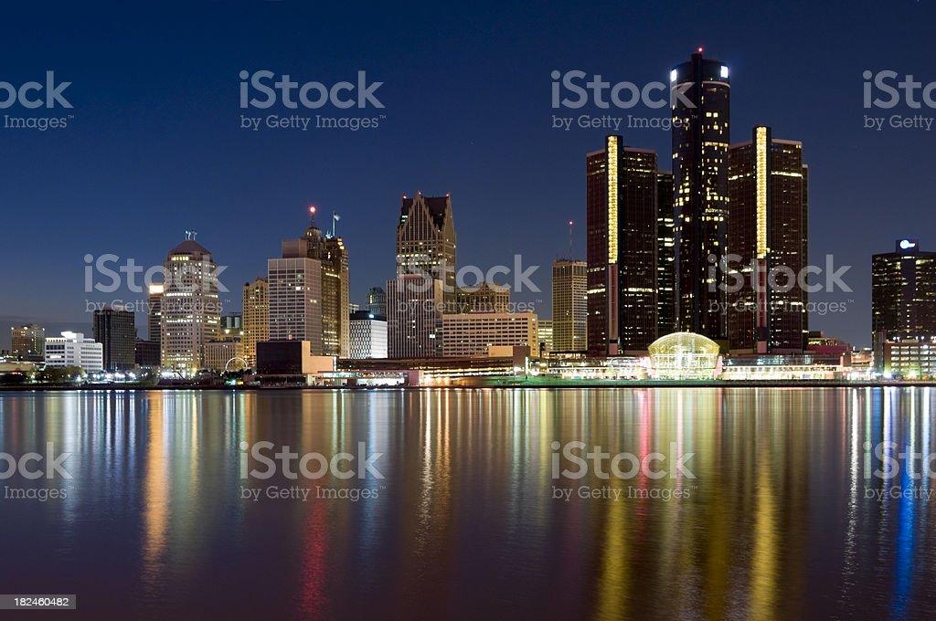 Detroit Skyline at Dusk royalty-free stock photo
