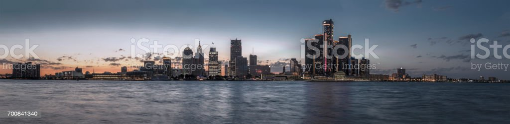 Detroit skyline at dusk stock photo