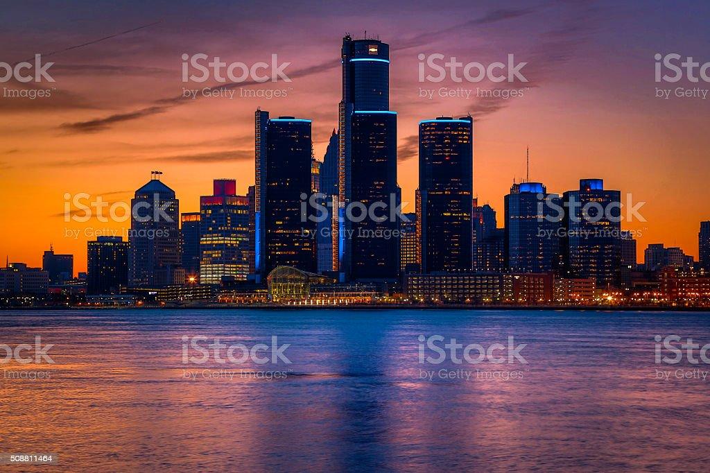 Detroit Skyline at Golden Hour stock photo