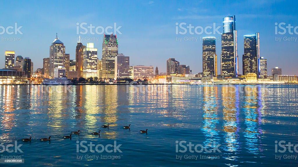 Detroit Skyline during evening stock photo