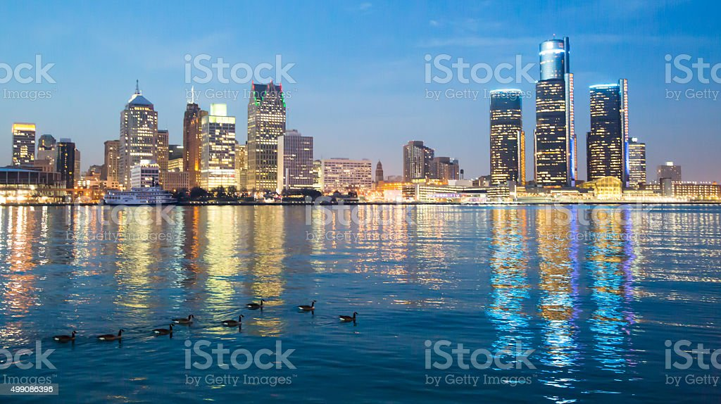 Detroit Skyline during evening stock photo