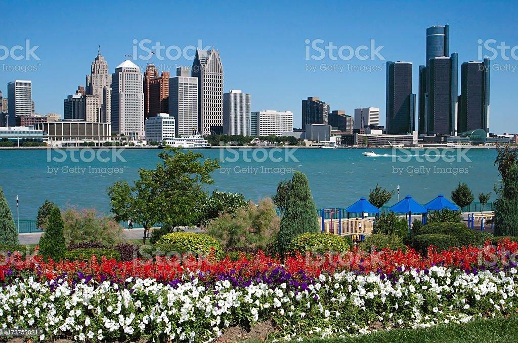 Detroit Skyline from Canada stock photo