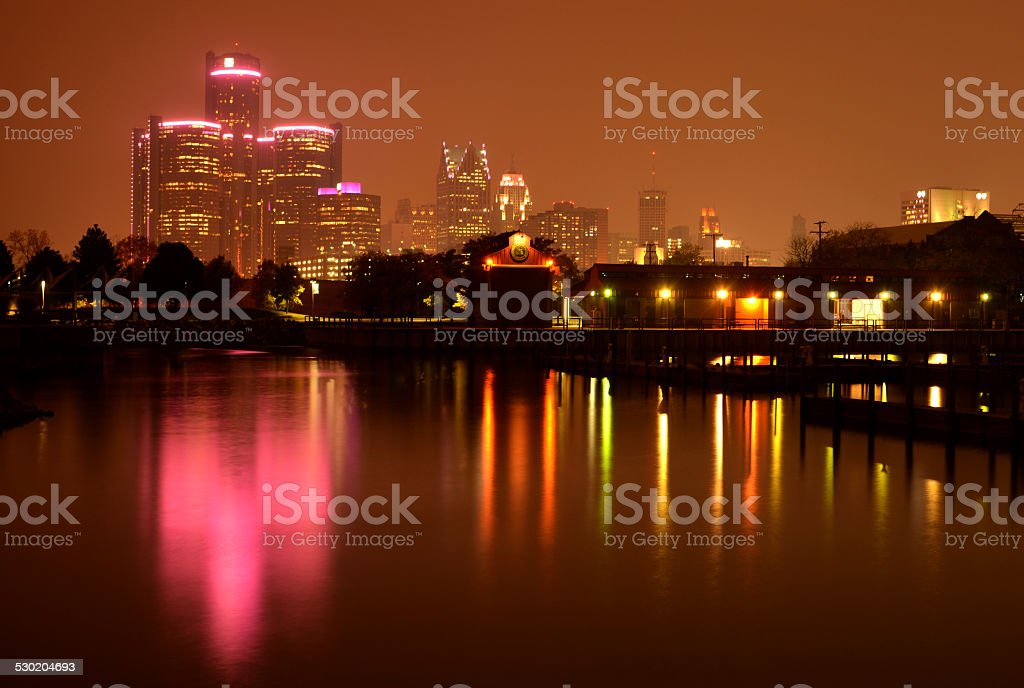 Detroit skyline reflection during Breast Cancer Awareness Month royalty-free stock photo