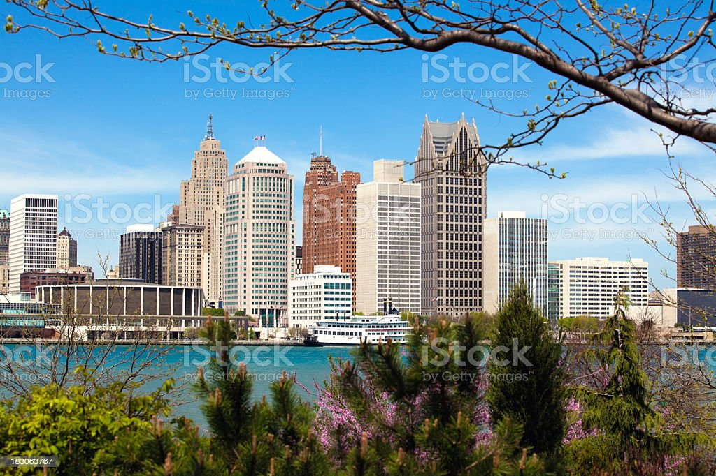 Detroit skyline seen from Windsor on a clear day stock photo