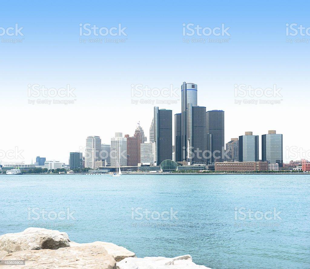 Detroit skyline waterfront stock photo