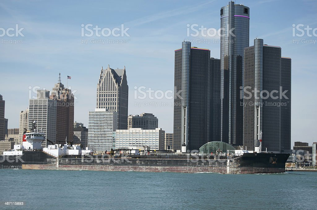 Detroit Skyline With Barge royalty-free stock photo