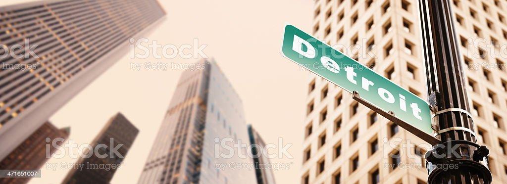 Detroit street sign stock photo