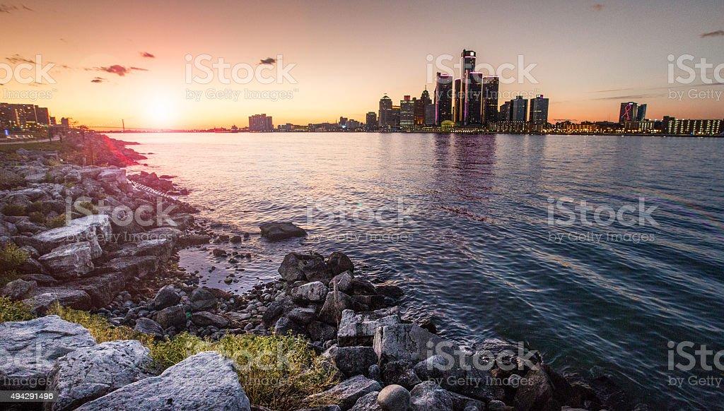 Detroit Sunset stock photo
