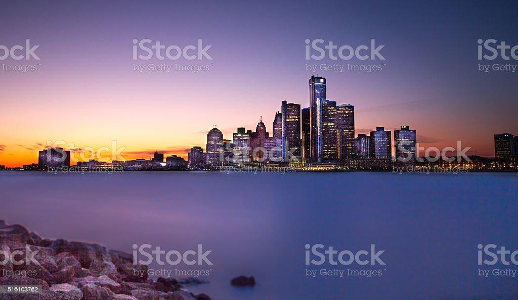 Detroit Twilight stock photo