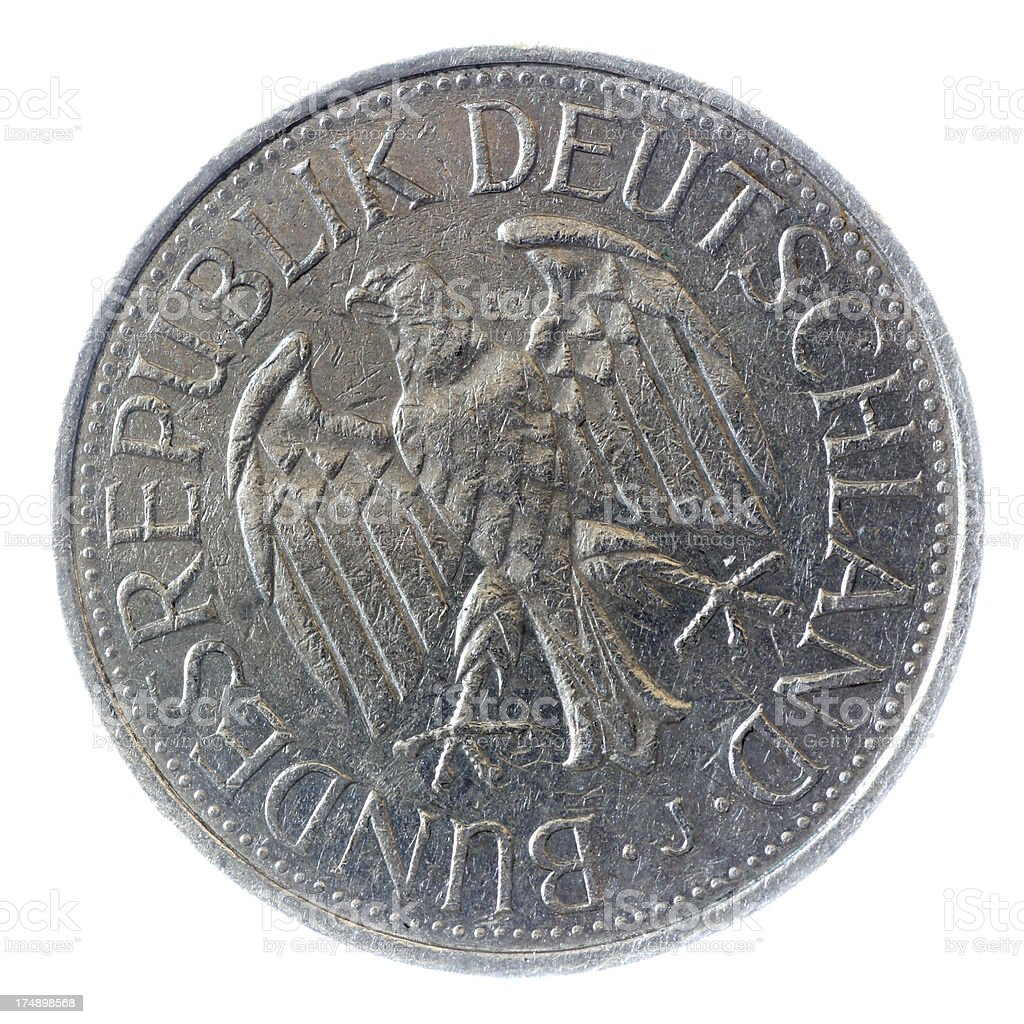 deutche mark german coin back side stock photo