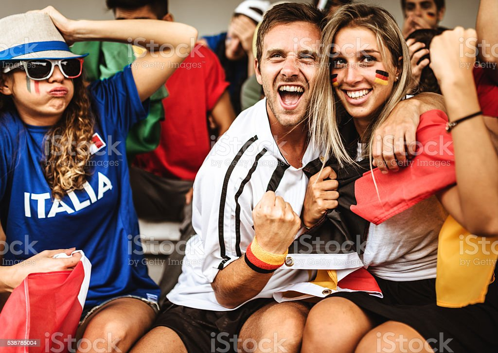 deutsch supporter at the soccer stadium stock photo