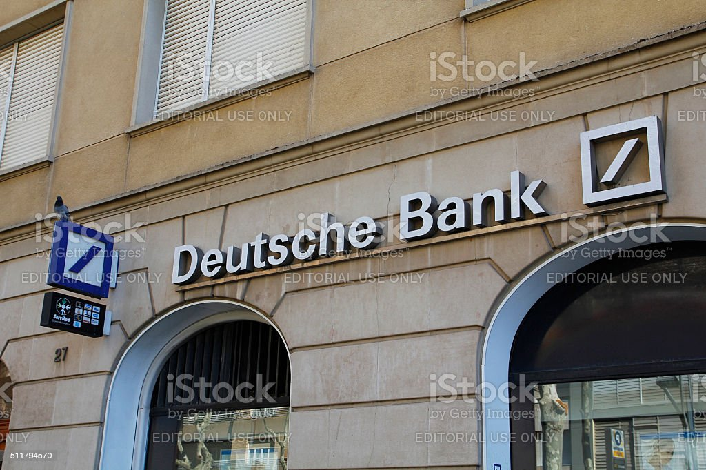 Deutsche bank branch office stock photo