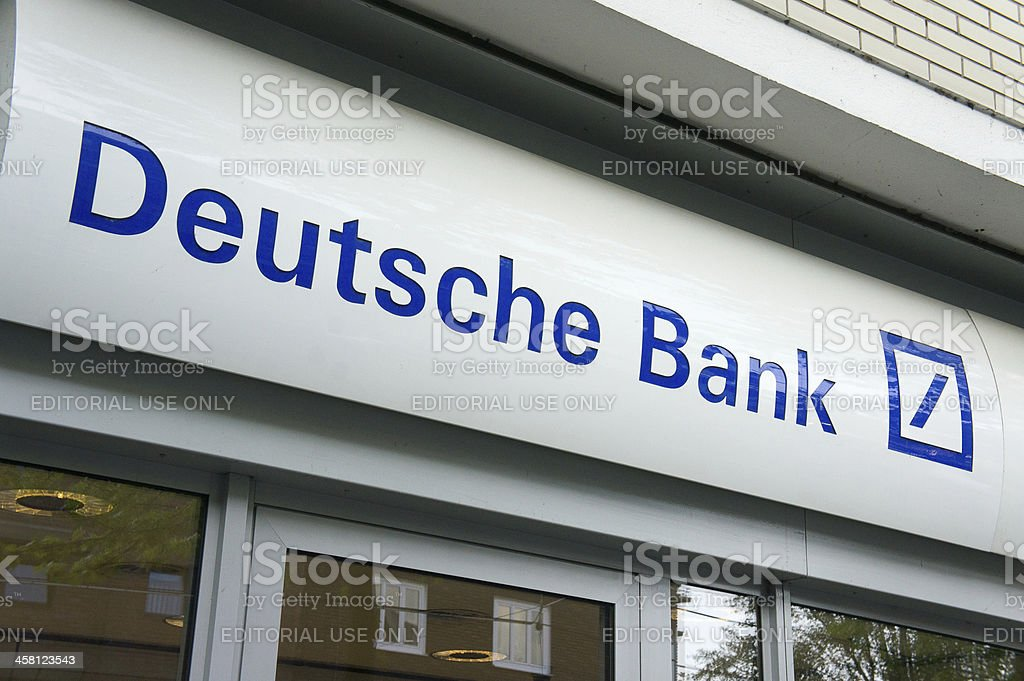 Deutsche Bank logo at a local branch in Düsseldorf stock photo