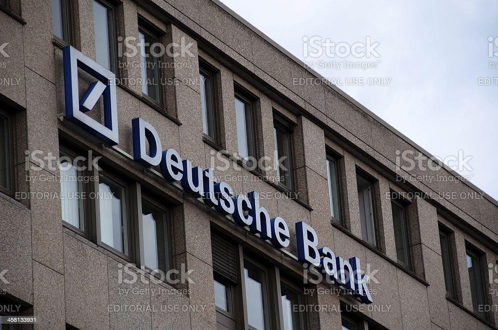 Deutsche Bank logo (neon sign) stock photo