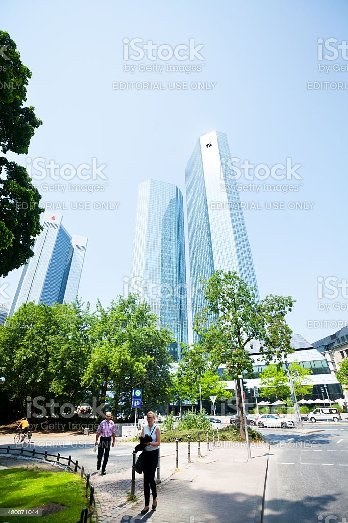 Deutsche Bank Skyliners and street Taunusanlagen stock photo