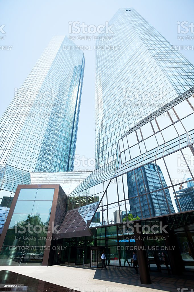 Deutsche Bank Skyliners in summer stock photo