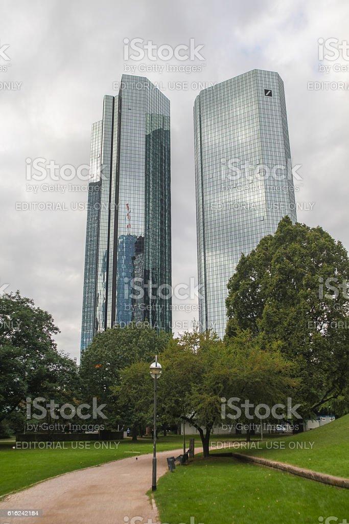 Deutsche Bank skyscrapers in Frankfurt, Germany stock photo