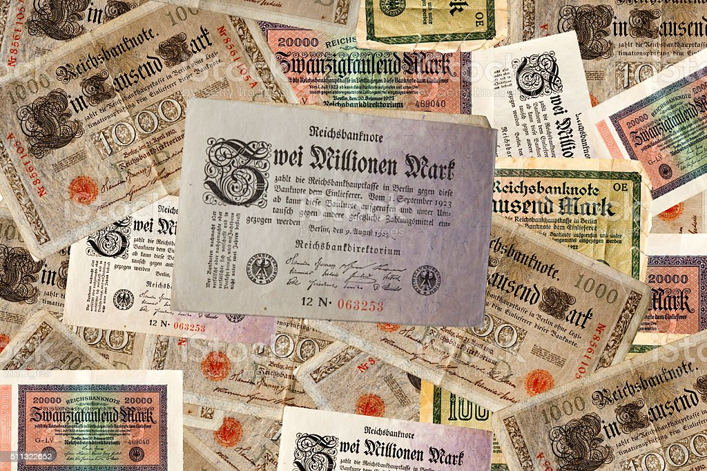 Deutsche Geldscheine aus den 20er Jahren stock photo