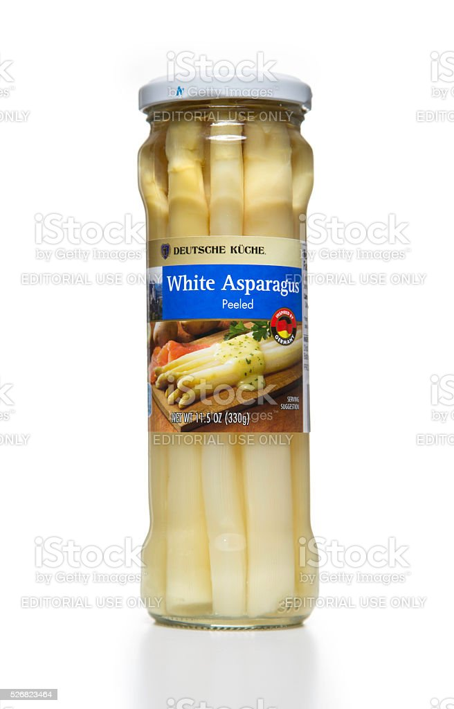 Deutsche Kuche peeled white asparagus jar stock photo