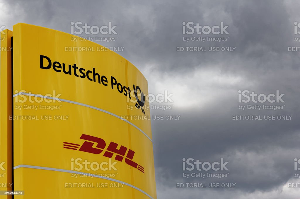 Deutsche Post and DHL sign stock photo