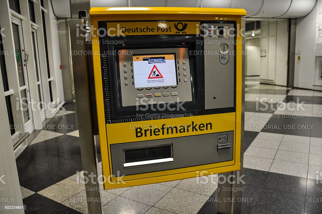 Deutsche Post stamp vending machine - Munich Airport, Germany stock photo