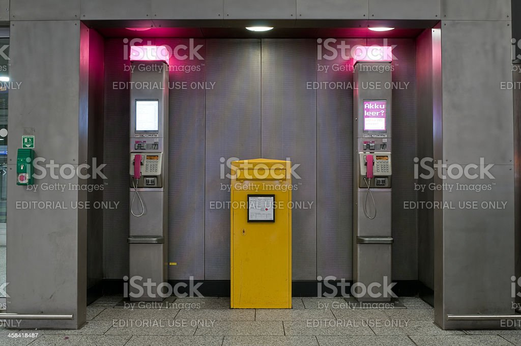 Deutsche Telekom phone booths at Frankfurt Airport royalty-free stock photo
