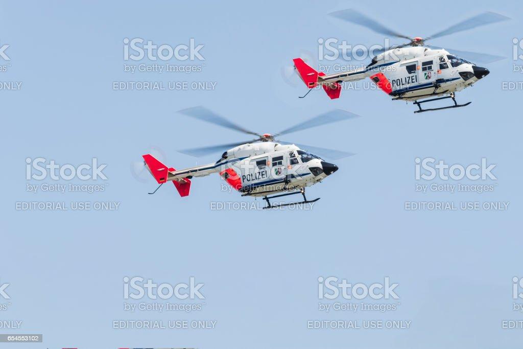 Deutscher Polizei, Rettungshubschrauber im Landeanflug stock photo