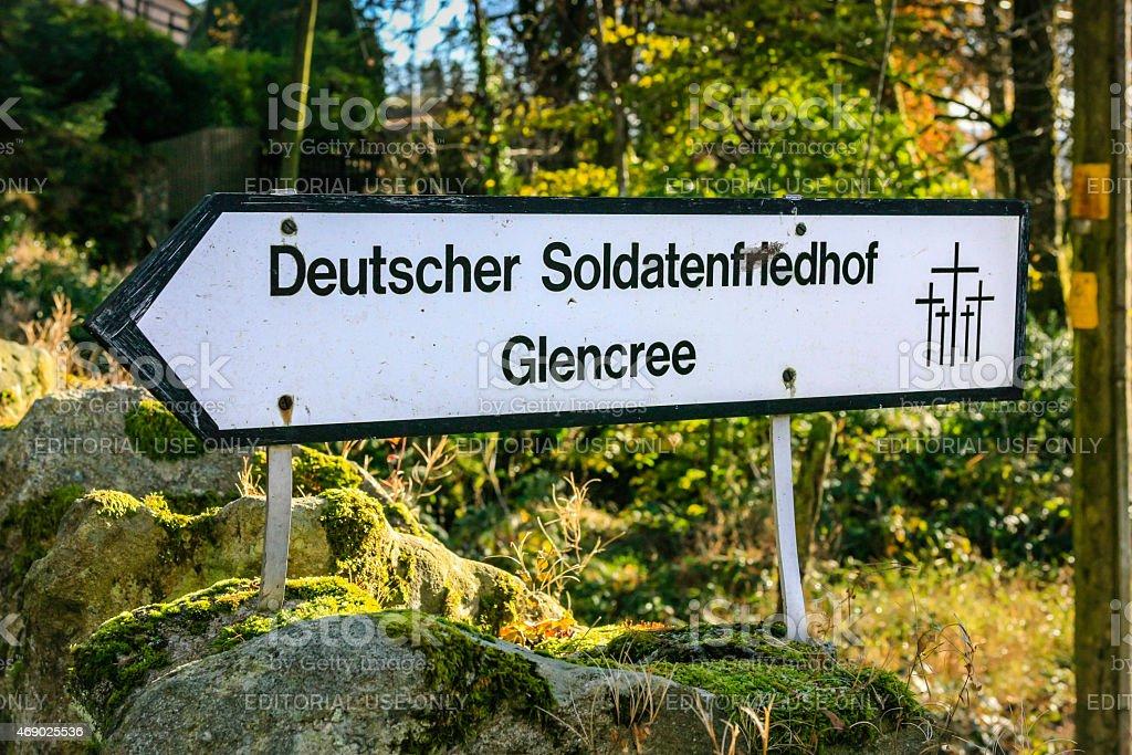 Deutscher Soldatenfriedhof Glencree Sign stock photo