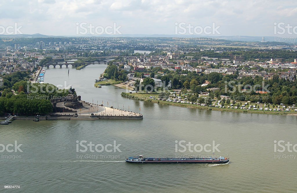 Deutsches Eck and cityscape in Coblenz, Germany stock photo
