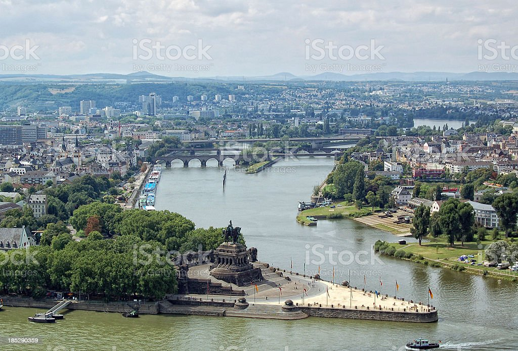 Deutsches Eck and cityscape in Coblenz (Germany) - Koblenz stock photo