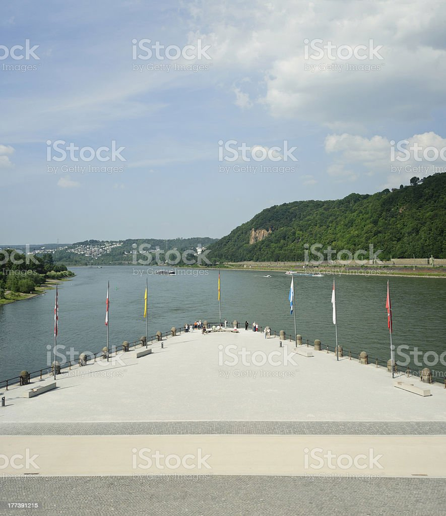 Deutsches Eck in koblenz stock photo