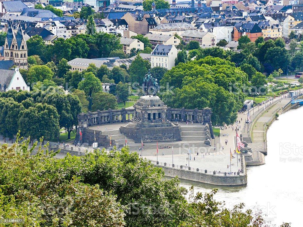 Deutsches Eck (German Corner) in Koblenz town stock photo