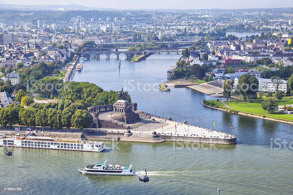 Deutsches Eck - monument in Koblenz stock photo