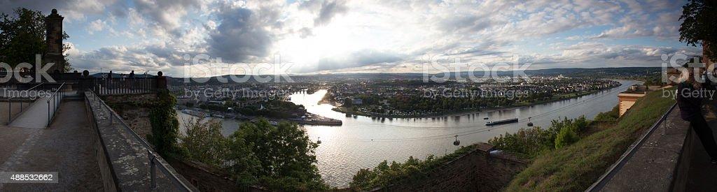 deutsches eck sundown in koblenz germany high resolution panoram stock photo