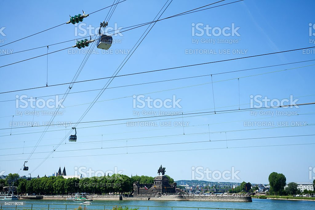 Deutsches Eck with rivers Mosel and Rhine stock photo