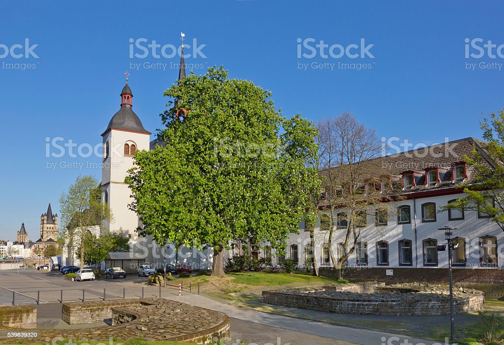 Deutz Abbey with Old St. Heribert church in Cologne, Germany stock photo