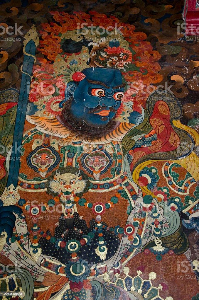 Devaraja - the four heavenly guardian, Tibetan Wall Fresco stock photo