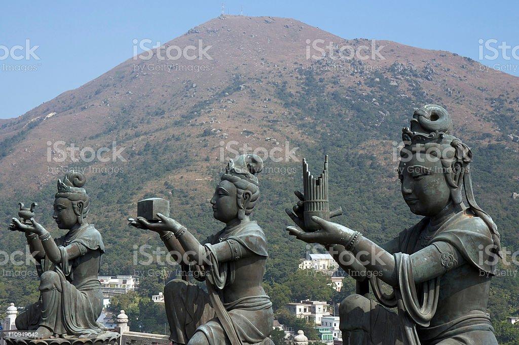 Devas Buddhistic statues stock photo