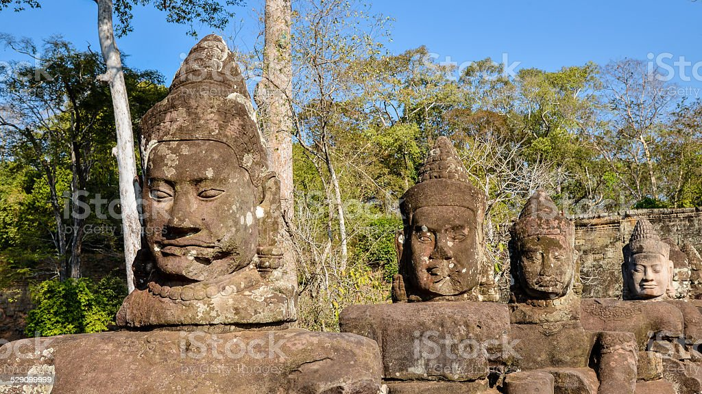 Devas (Guardian Gods) Guarding Angkor Thom South Gate, Cambodia stock photo