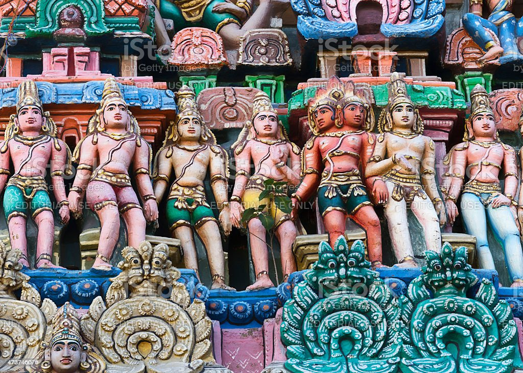 Devas, the servants of Shiva, form a line. stock photo