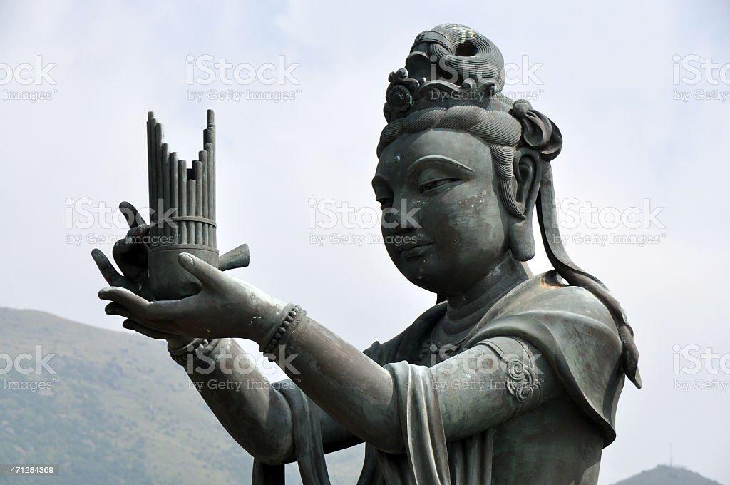 Devas Worship Giant Buddha at Hong Kong Temple stock photo