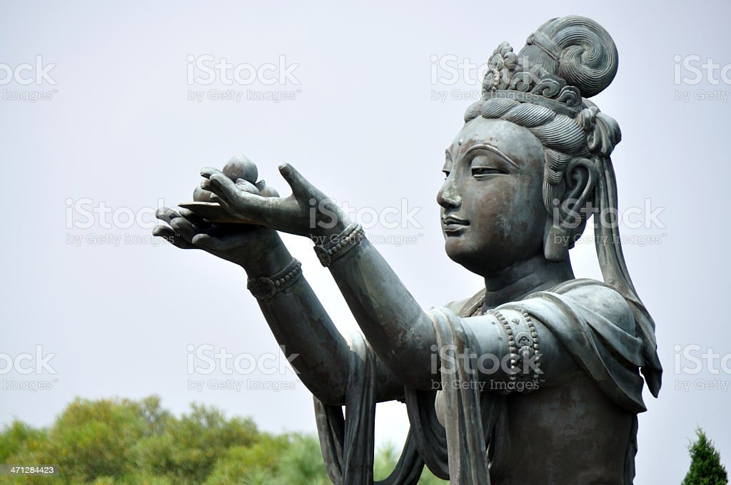 Devas Worship Giant Buddha at Hong Kong Temple royalty-free stock photo